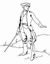 British Soldier Coloring Pages Sword Flag Drawing Franklin Soldiers Redcoat Easy Printable Colonial Coat Very Benjamin Getcolorings Holidays July Sketch sketch template