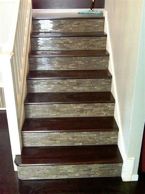 custom tile wood stairs home ideas designs