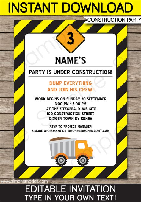 Construction Party Invitations Template Birthday Party