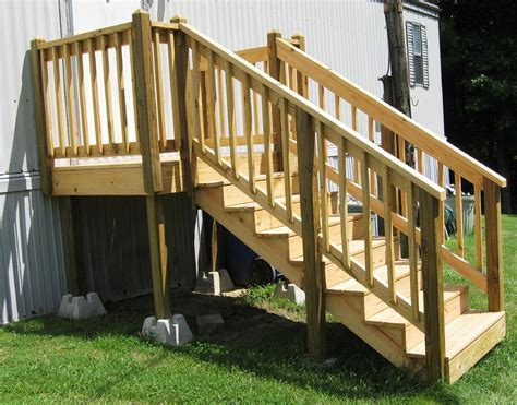 mobile steps plans porch porches designs deck homes decks front stair stairs manufactured attach covered decor kits roof trailer wide