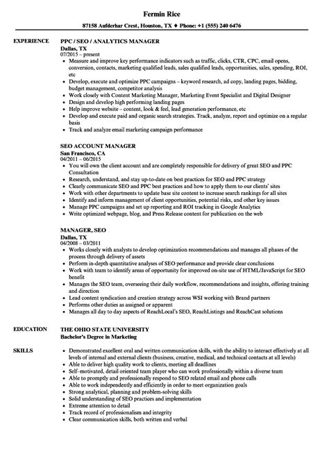Seo Resume by Manager Seo Resume Sles Velvet