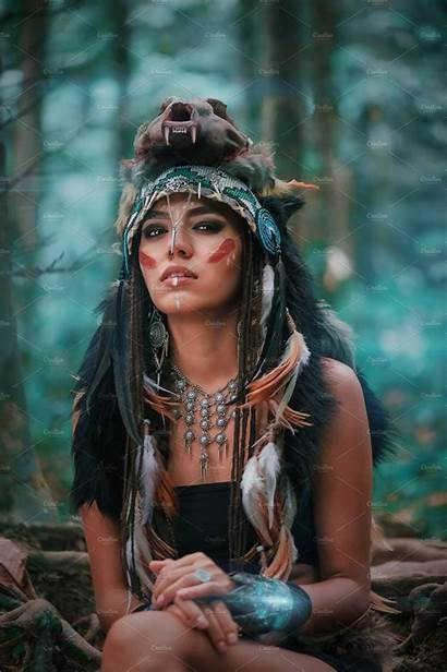 Indian Woman Portrait Wild Native American Forest