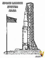 Coloring Space Nasa Shuttle Launch System Pages Spacecraft Yescoloring Spectacular sketch template