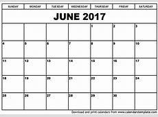 Blank June 2017 Calendar monthly calendar 2017