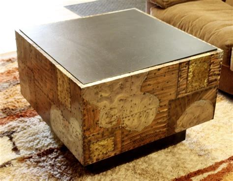 This walnut mid century modern coffee table has a fan of six slimline arched legs. Mid-Century Modern Paul Evans Cube Coffee Table Slate Top Copper Patchwork 1970s For Sale at 1stdibs