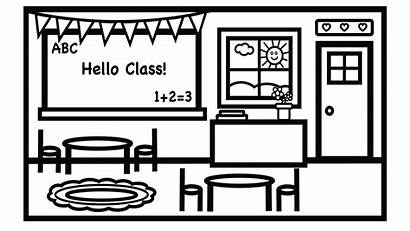 Classroom Clipart Coloring Above Credit