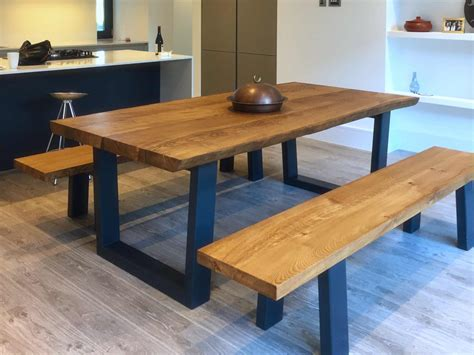 Oak Dining Table And Bench Set View Larger