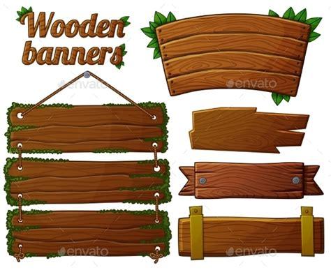 set  dark wooden banners  cartoon vector  annzabella