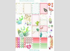 Flamingo Cacti Happy Planner Sticker Sheet