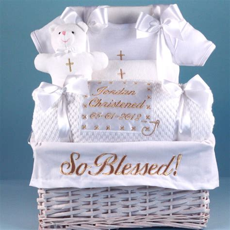 personalized piggy for boy quot so blessed quot christening baby gift basket