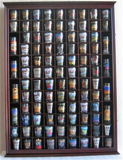 shot glass curio cabinet large shadow box wall cabinet to hold 100 shot glasses 1