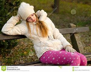 Sad Girl Sitting On The Bench Royalty Free Stock ...