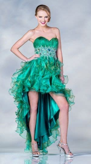 high  green formal gown strapless sweetheart jewels