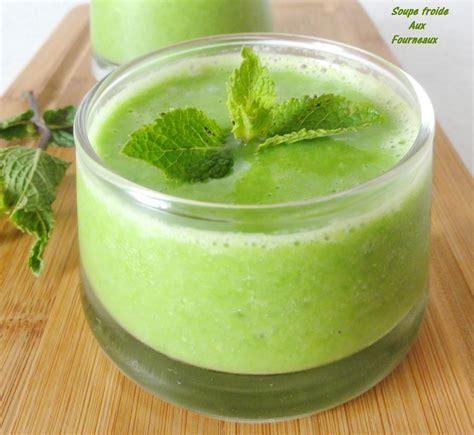 recette de cuisine froide soupe de petits pois menthe citron vert aux fourneaux