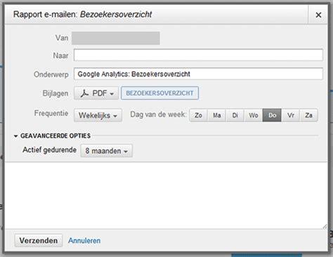 tutorials google analytics rapporten automatisch versturen  mail websonic