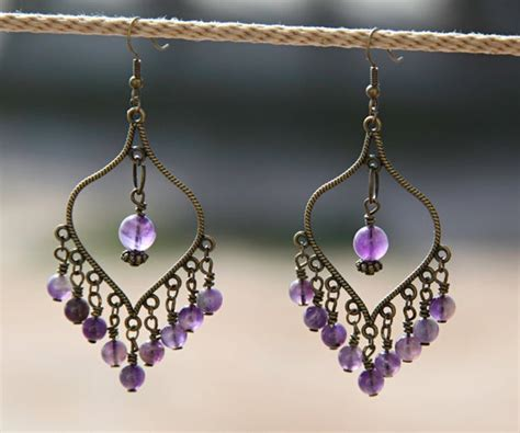 handmade chandelier earrings with amethyst and antiqued brass