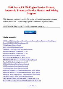 1991 Lexus Es 250 Engine Service Manual Automatic