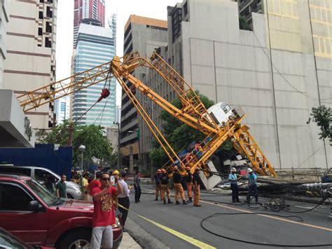 crane collapses  makati street  hurt
