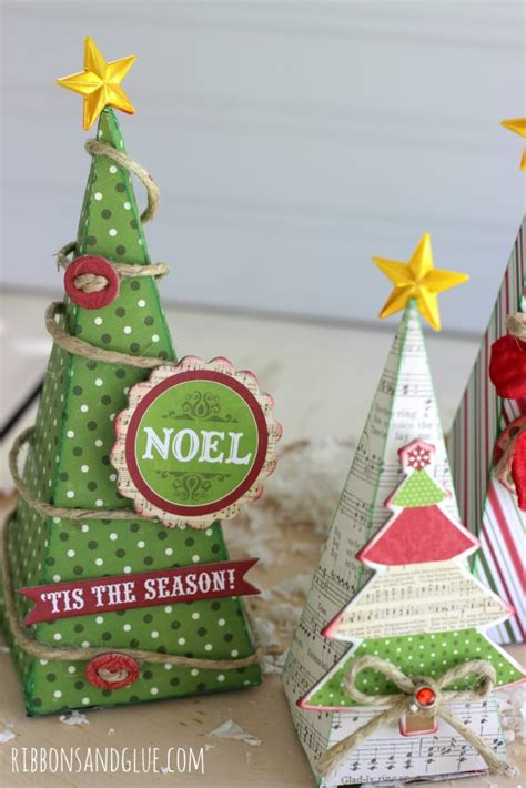 3d paper christmas tree with ribbon rustic glam