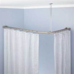 corner solid brass shower curtain rod bathroom