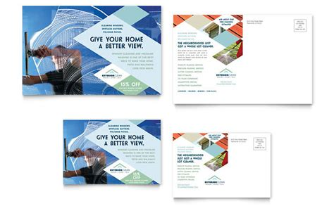 window cleaning pressure washing postcard template design