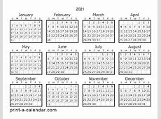2021 One Page Calendar