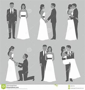 set of bride and groom stock vector image 48947210 With wedding invitation picture poses