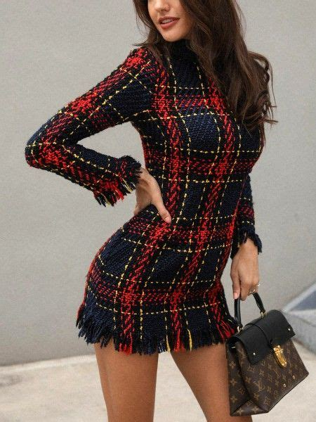 Solid Zipper Up Belted Pleated Casual Dress | Tweed dress ...