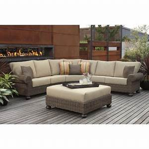 Costco pacific casual jakarta 4 piece woven sectional set for Outdoor sectional sofa costco