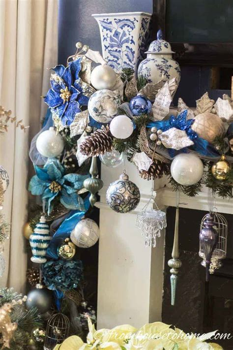 beautiful blue  white christmas home decorating ideas