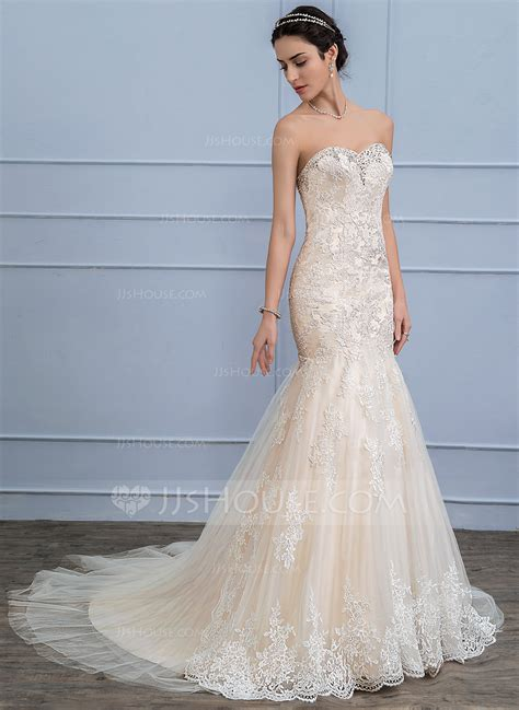 Trumpet/Mermaid Sweetheart Court Train Tulle Lace Wedding Dress With Beading Sequins (002107824