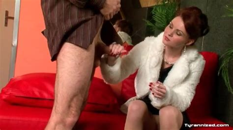 Sexy Redhead In Fur Coat Teases His Cock Hardcore Porn