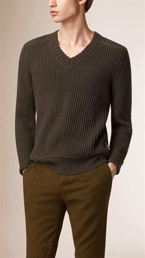 mens burberry sweater burberry v neck wool sweater in green for lyst