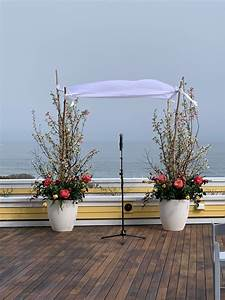 Ocean, House, Watch, Hill, Chuppah, Of, Flowering, Pots, With, Branching, Birch, Poles, And, Cherry, Blossom