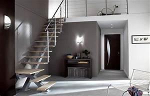 escalier dans hall d39entree maison avec mezzanine With idee couleur escalier bois 2 escaliers design et contemporains idee deco et amenagement