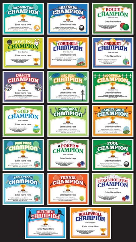 champion certificates  ping pong darts pool cornhole