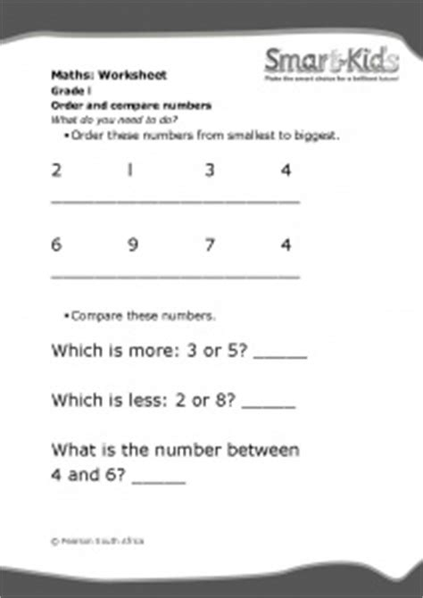 grade 1 maths worksheet order and compare numbers smartkids