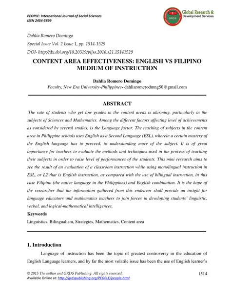 content area effectiveness english  filipino
