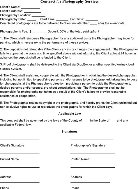 event photography contract template pinterest