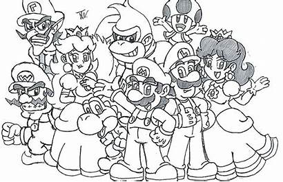 Mario Coloring Kart Characters Pages Super Odyssey
