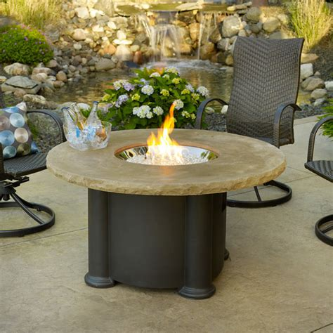 Colonial Round Gas Fire Pit Table Contemporary Fire