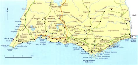 detailed map  algarve  roads cities  airports