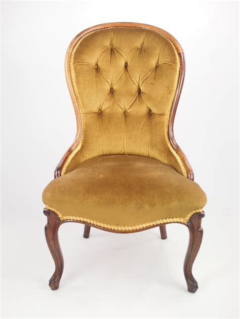 small antique rosewood button back nursing chair