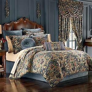 J Queen New York™ Cassandra Comforter Set in Blue - Bed