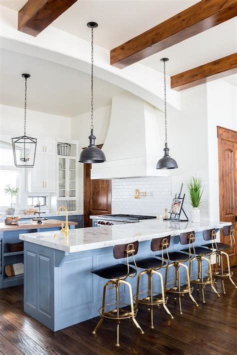 blue kitchen peninsula  charcoal gray industrial
