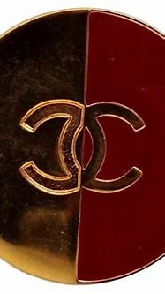 Vintage CHANEL Logo Red Gold Brooch at 1stDibs
