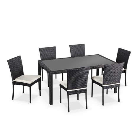 table et chaise exterieur salon de jardin en résine tressée 6 chaises table d