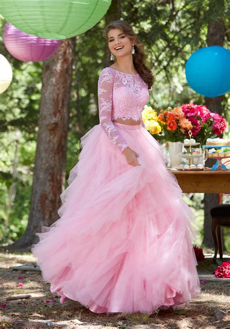 piece prom two dresses skirt lace tulle ruffled chantilly morilee