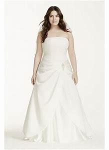 satin drop waist pleated plus size wedding dress davids With plus size drop waist wedding dress