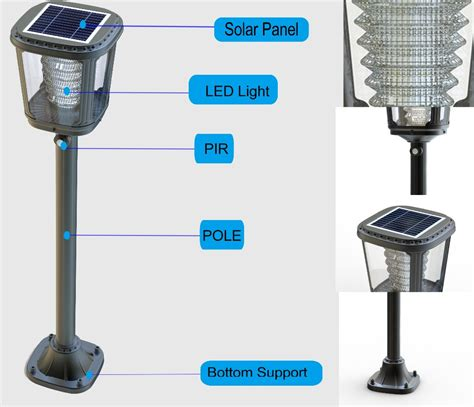 solar powered outdoor l post lights garden lawn l